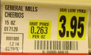 A sample grocery store shelf sticker.